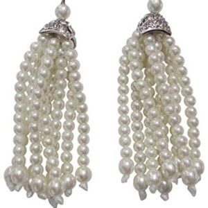 Kenneth Jay Lane Faux Pearl Drop Tassel Earrings